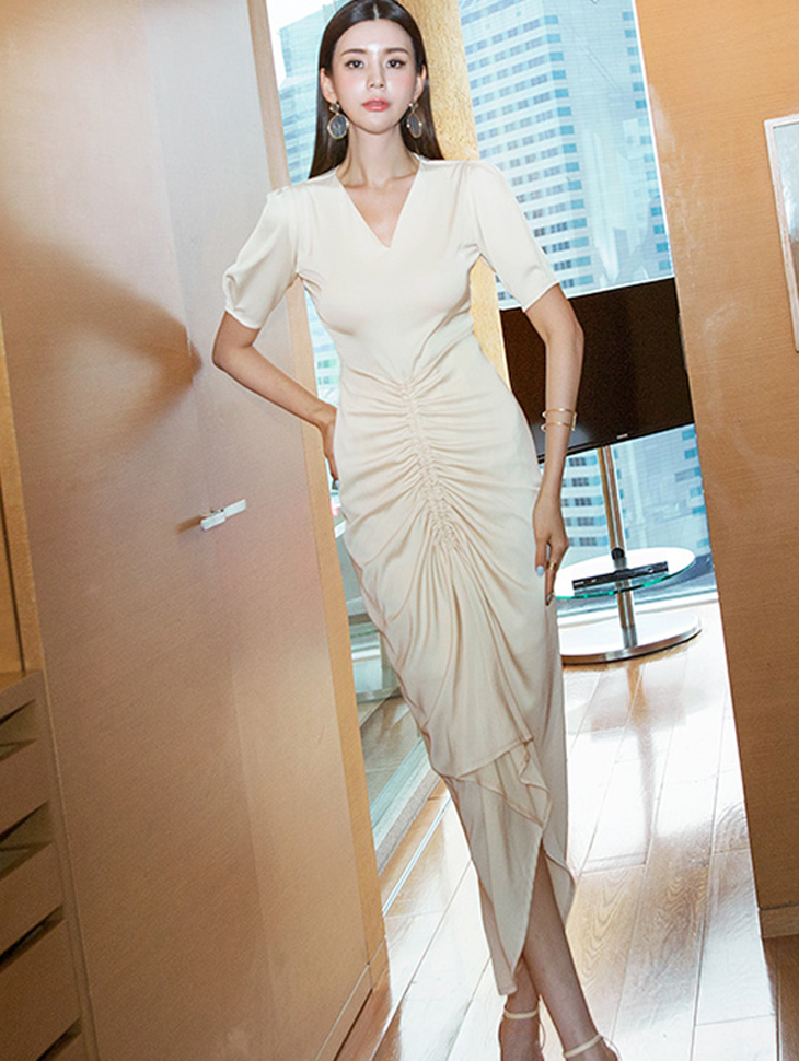 D3830 조안나 Shirring Satin Dress*LIGHT BEIGE Lsize Production*(38th REORDER)