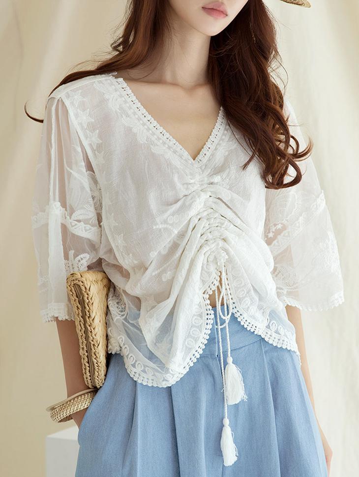 B2454 엘리아 Shirring blouse(70th REORDER)(제작기간 2주소요, 순차발송예정)