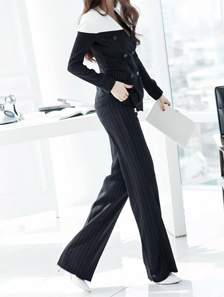 P1191 Stripe wide Slacks*L size production*(125th REORDER)