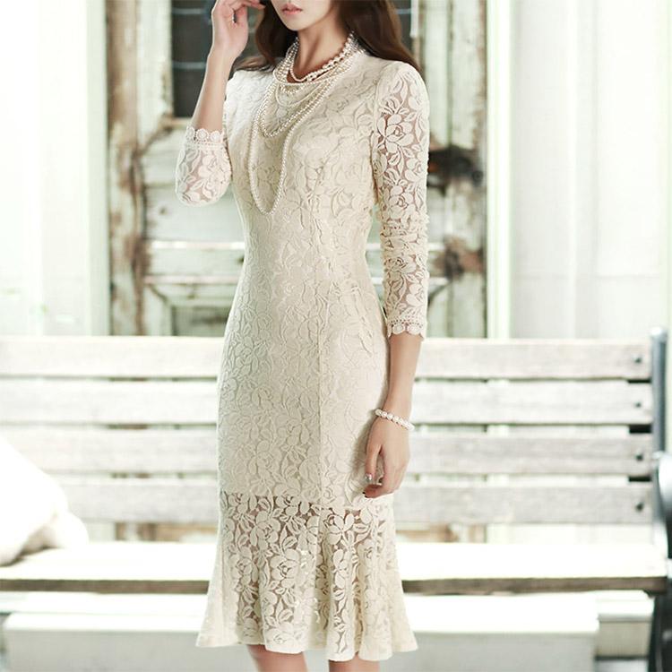 Korean D2845 Mermaid pull Lace Dress*IVORY L사이즈제작*(105th REORDER)