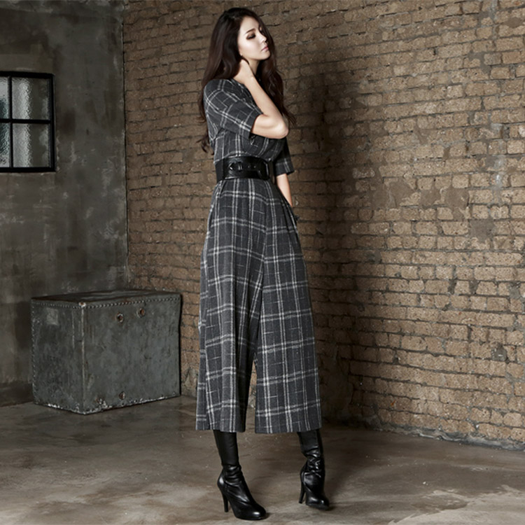Korean D2868 Check half neck jumpsuit(128th REORDER)