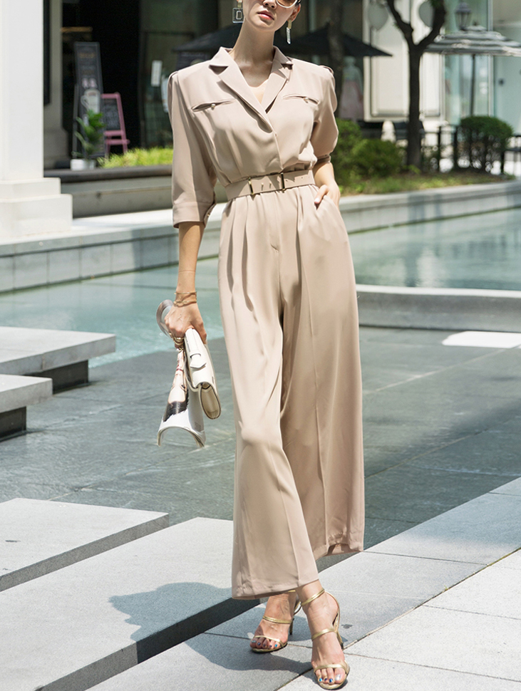 D3879 Two collar Gold point jumpsuit(Belt set)(9th REORDER)