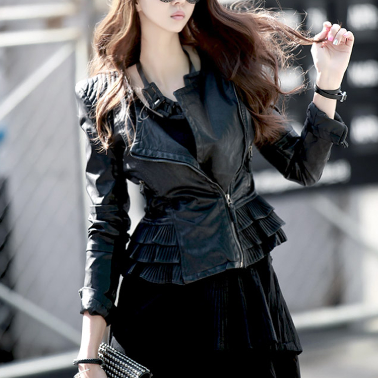 Korean J-3211 Back frill detail Leather Jacket (280th REORDER)