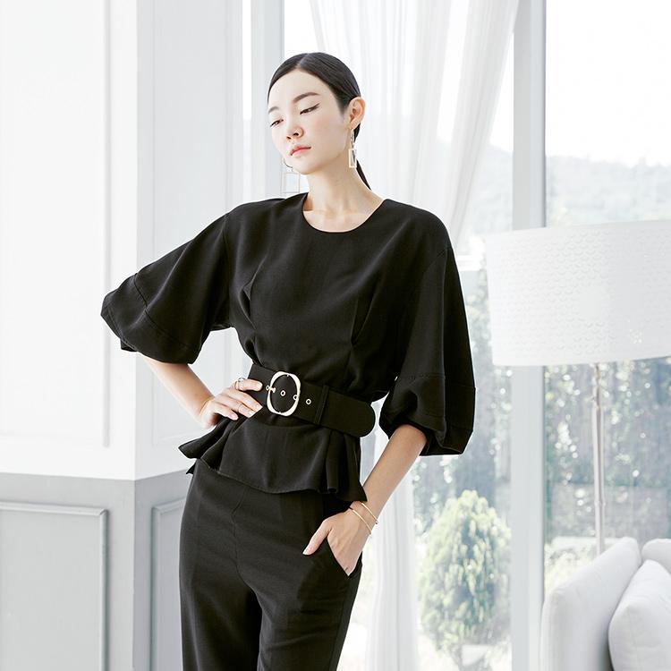 Korean B2480 balloon Sleeve blouse(Belt set)(7th REORDER)