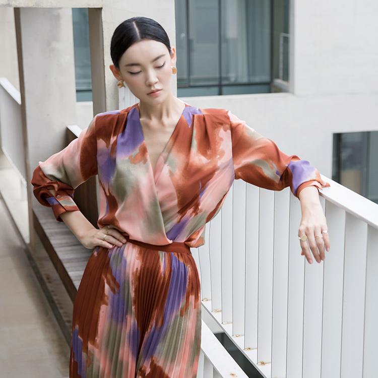 Korean B2481 Mai Printing Blouse