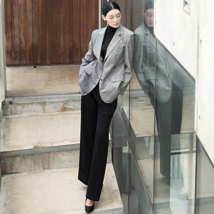 Korean J724 High Shoulder Outfit Pattern Wool Jacket