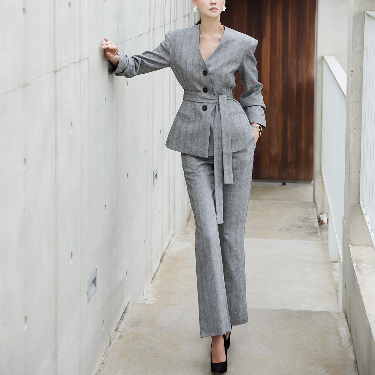 Korean TP1005 No-collar Herringbone Line Setup Suit (JACKETBelt set)