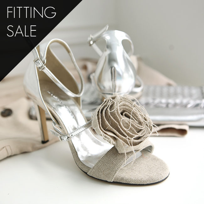 Korean PS1686 fabric corsage open toe heel * hand made * fitting sale *
