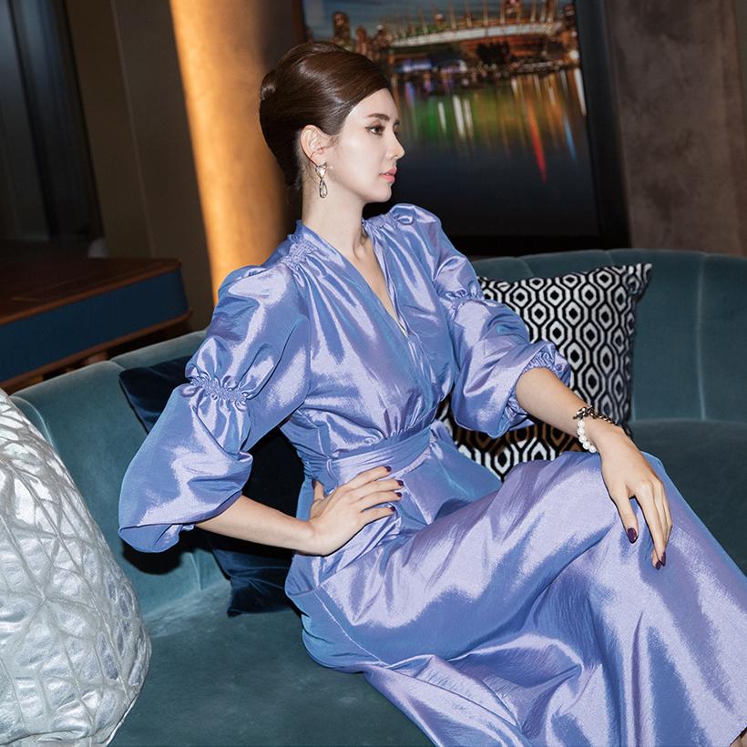 Korean D3908 Schneier Double Puff Dress (Belt SET)