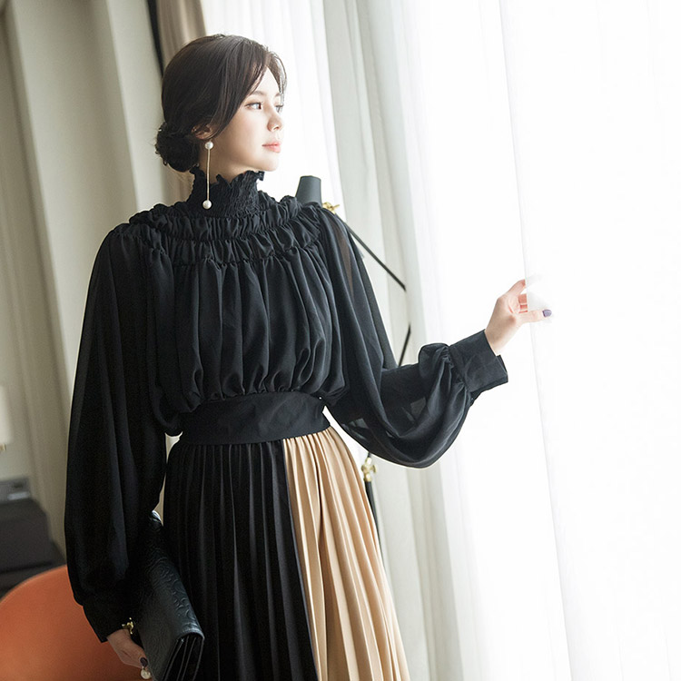 Korean B2511 Shirring Line Back Point blouse(74th REORDER)