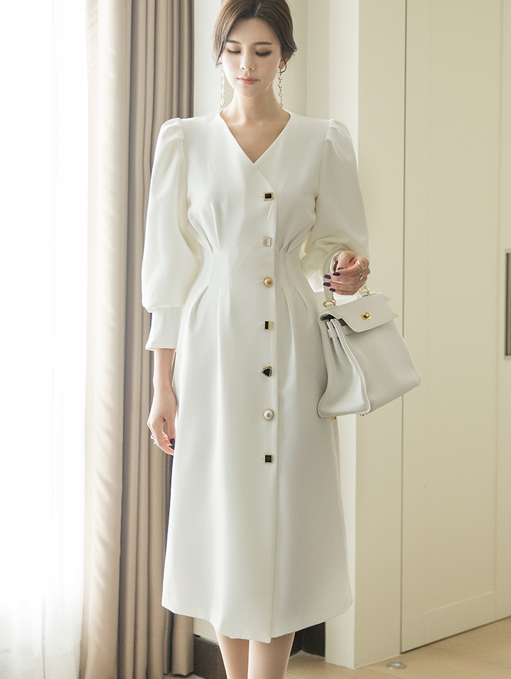 D3917 비바셰 어나더 Button Line Dress*WHITE / BLACK Lsize Production*(91th REORDER)