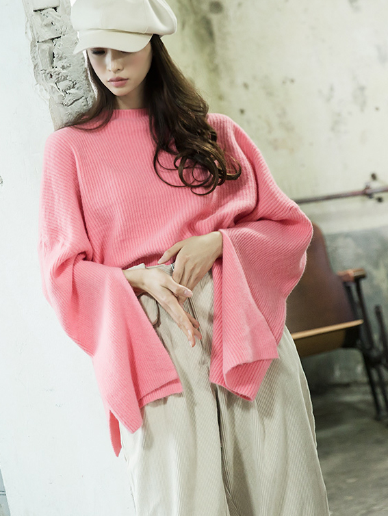 E2077 Sleeve Slit wide wool Knit Top
