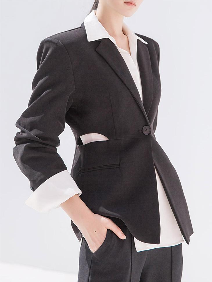 J799 Ellaquins Waist Slit Jacket