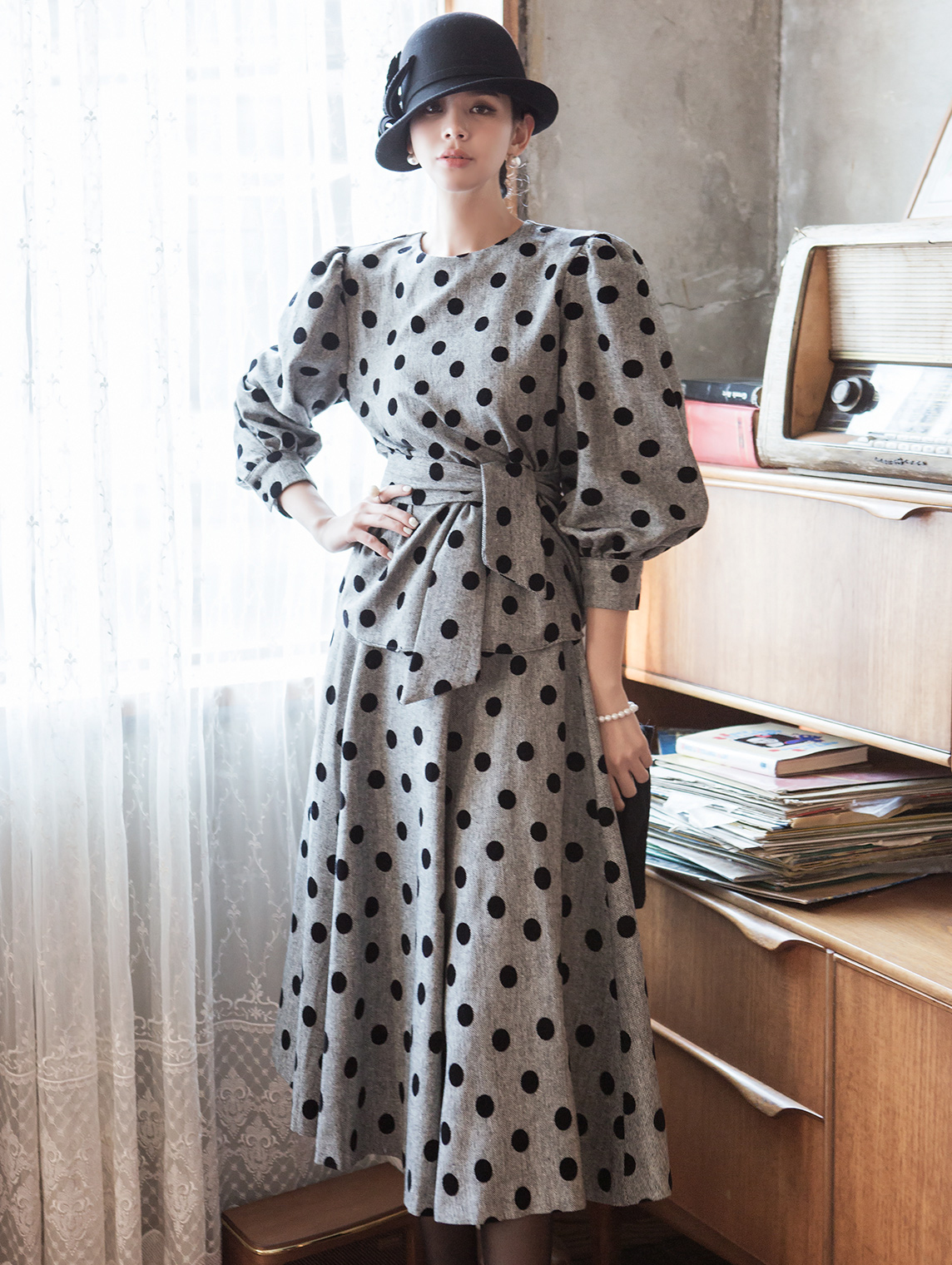 TP1023 shader Puff flare dot wool two-piece (Belt set)