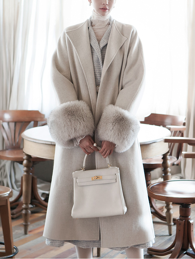 Korean J850 Harrison real fox fur sleeve wool Coat (belt set) * BLACK LABEL *