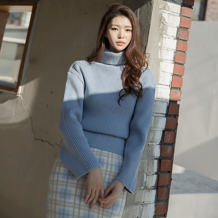 Korean E2104 Maine Drop Shoulder Knit turtleneck Top