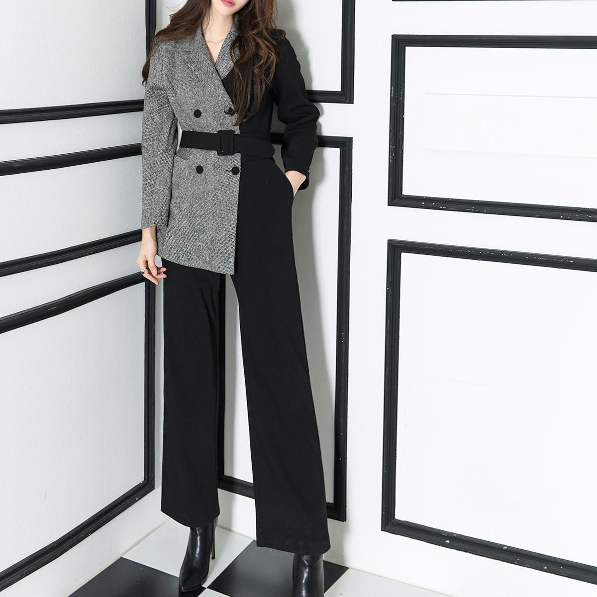 Korean D3708 Half Jacket Line Slim jumpsuit(58th REORDER)