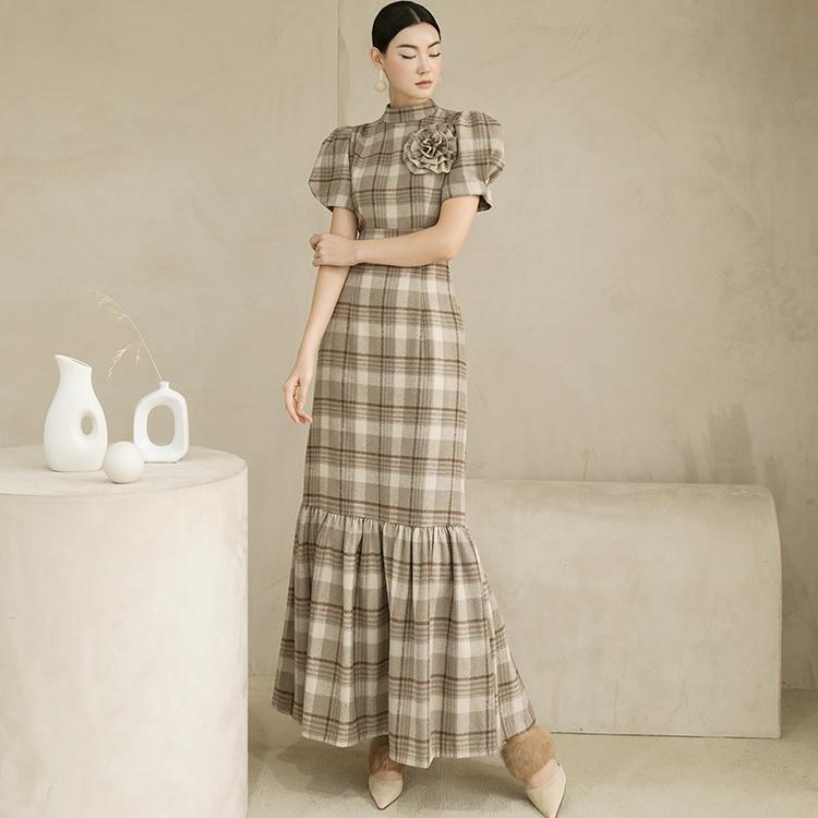 Korean D9119 Demerin Puff Sleeve Frill Dress (brooch SET)