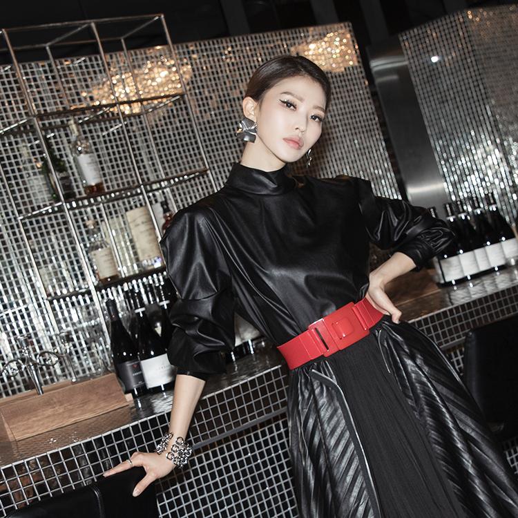 Korean B2532 Hayden Half-high Leather Blouse (3rd REORDER)