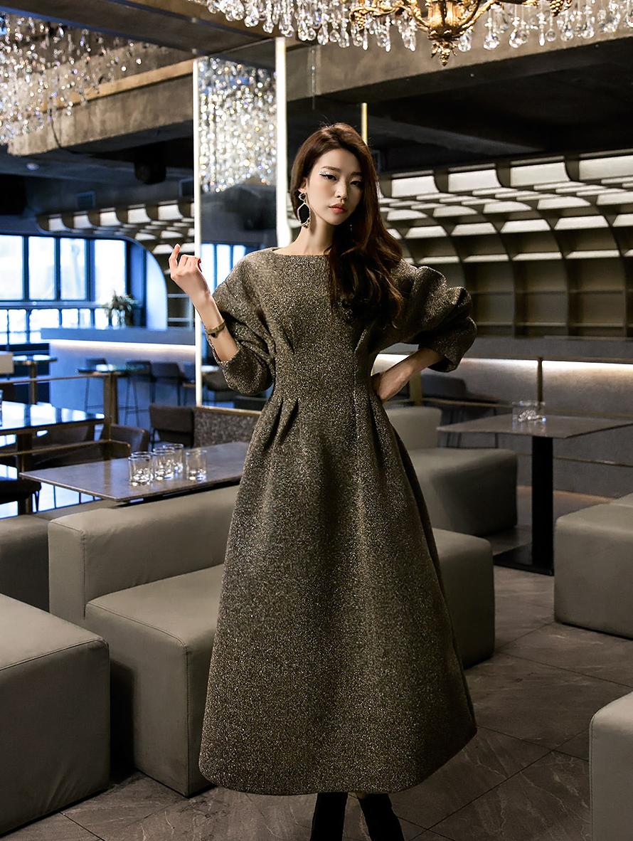 D9047 shining pin tuck volume Dress (15th REORDER)