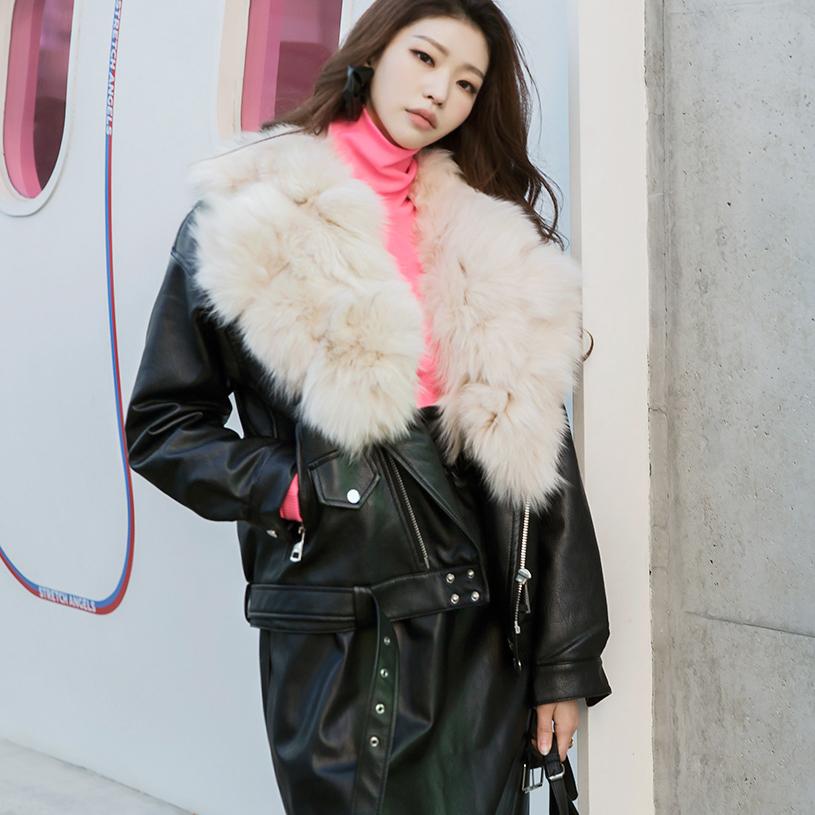 Korean J864 Viana fur point Leather Jacket (Belt SET) * quilted lining *