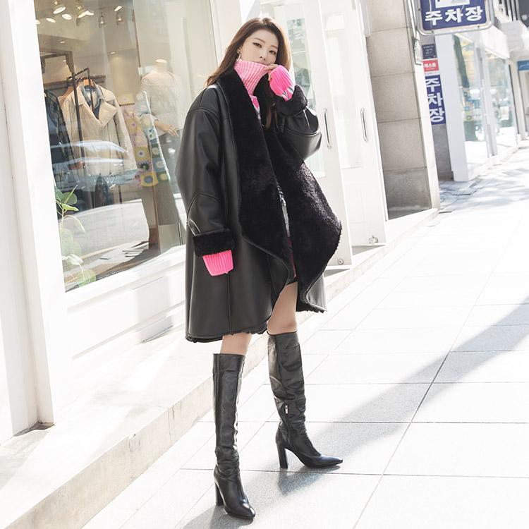 Korean J868 Boyin Soft Fur Gowns leather jacket (Belt SET)