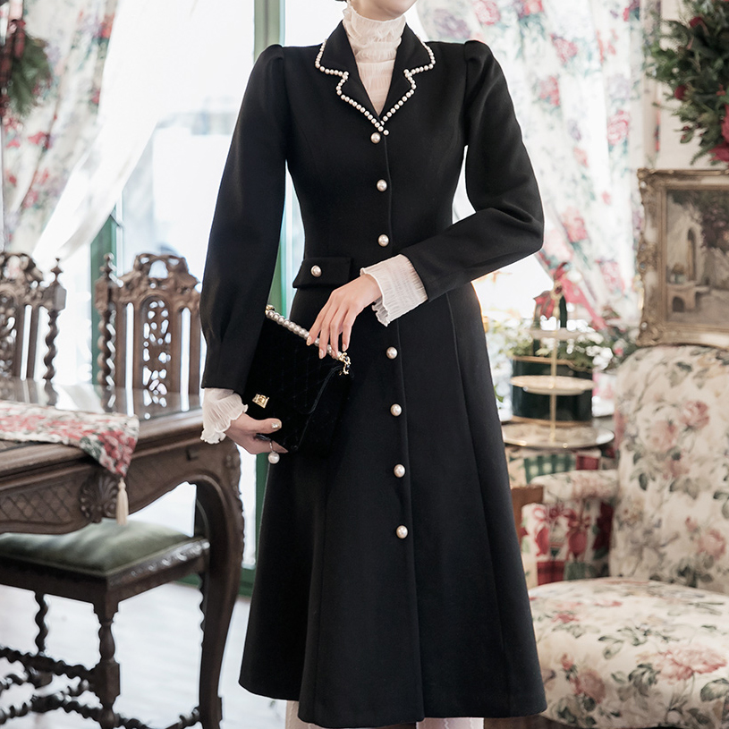 Korean D3962 Helene Pearl Line wool Dress (17th referer) * L size production *