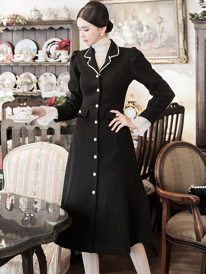 D3962 Helene Pearl Line wool Dress (17th referer) * L size production *