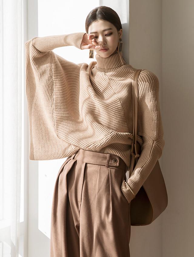 E2141 Ersha Leglan turtleneck wool Knit Top (6th order)