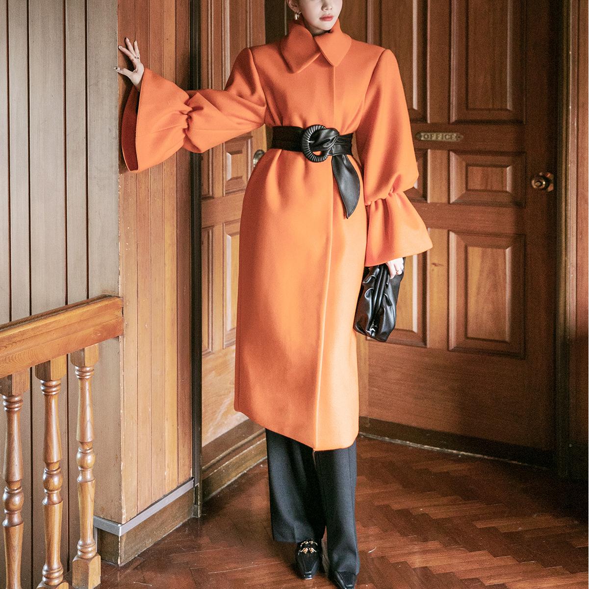 Korean J9044 Fleece Sleeve Volume Long Coat (BeltSET)