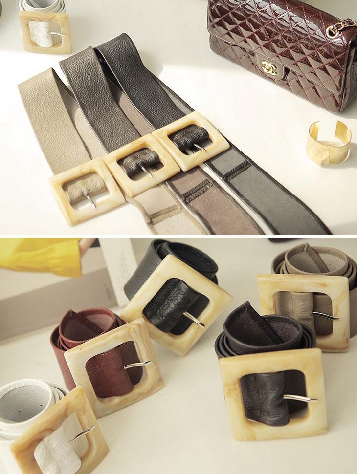 AT-318 simple Wood square Belt *DEEP BROWN*