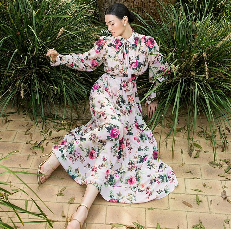 Korean D9068 Rosa Pearl Button Flower Dress (ScarfSET) (8th REORDER)
