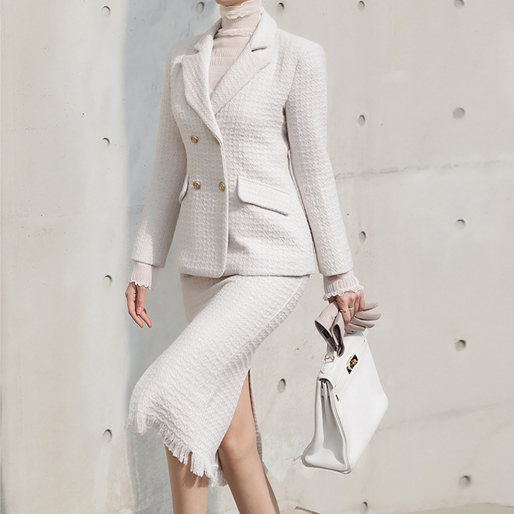 Korean TP1017 Beth tweed double wool two-piece