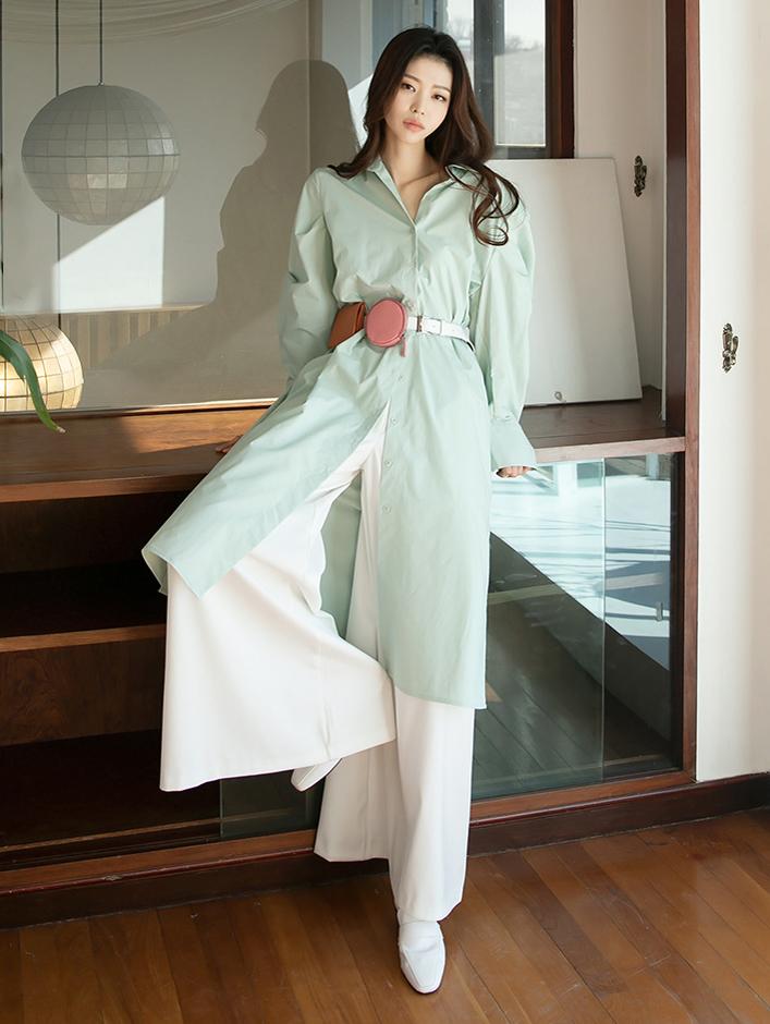 S355 Julie Boxy Long Shirt (Belt set) * Can be worn as a dress *
