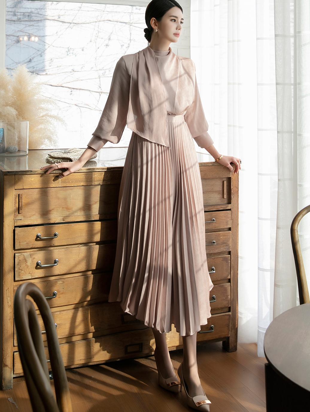 D3981 muffler pleats Dress(7th REORDER)