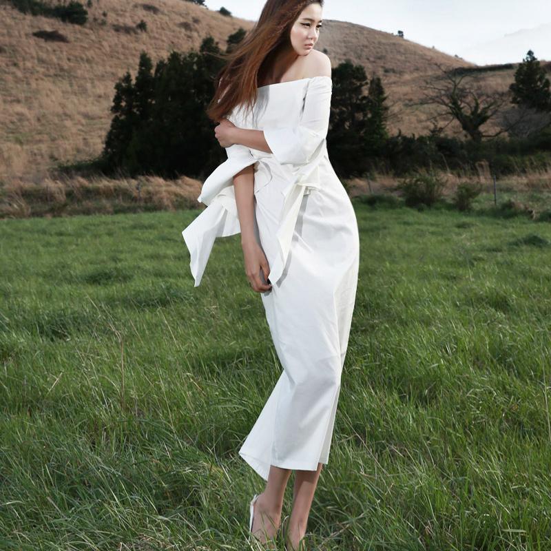 Korean D2990 Sleeve Ruffle Off shoulder Long Dress