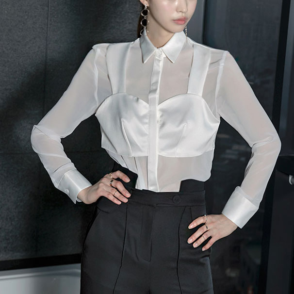 Korean B1648 fake nude Blouse * L size production * (20th REORDER)