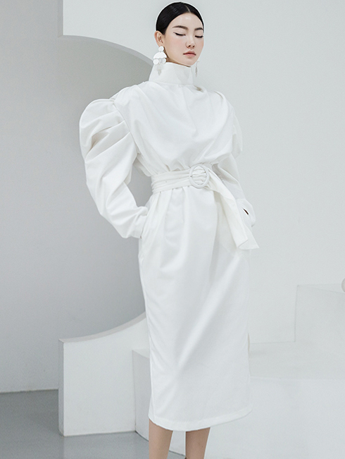 D9117 Millena Volume Sleeve Dress (Belt set)