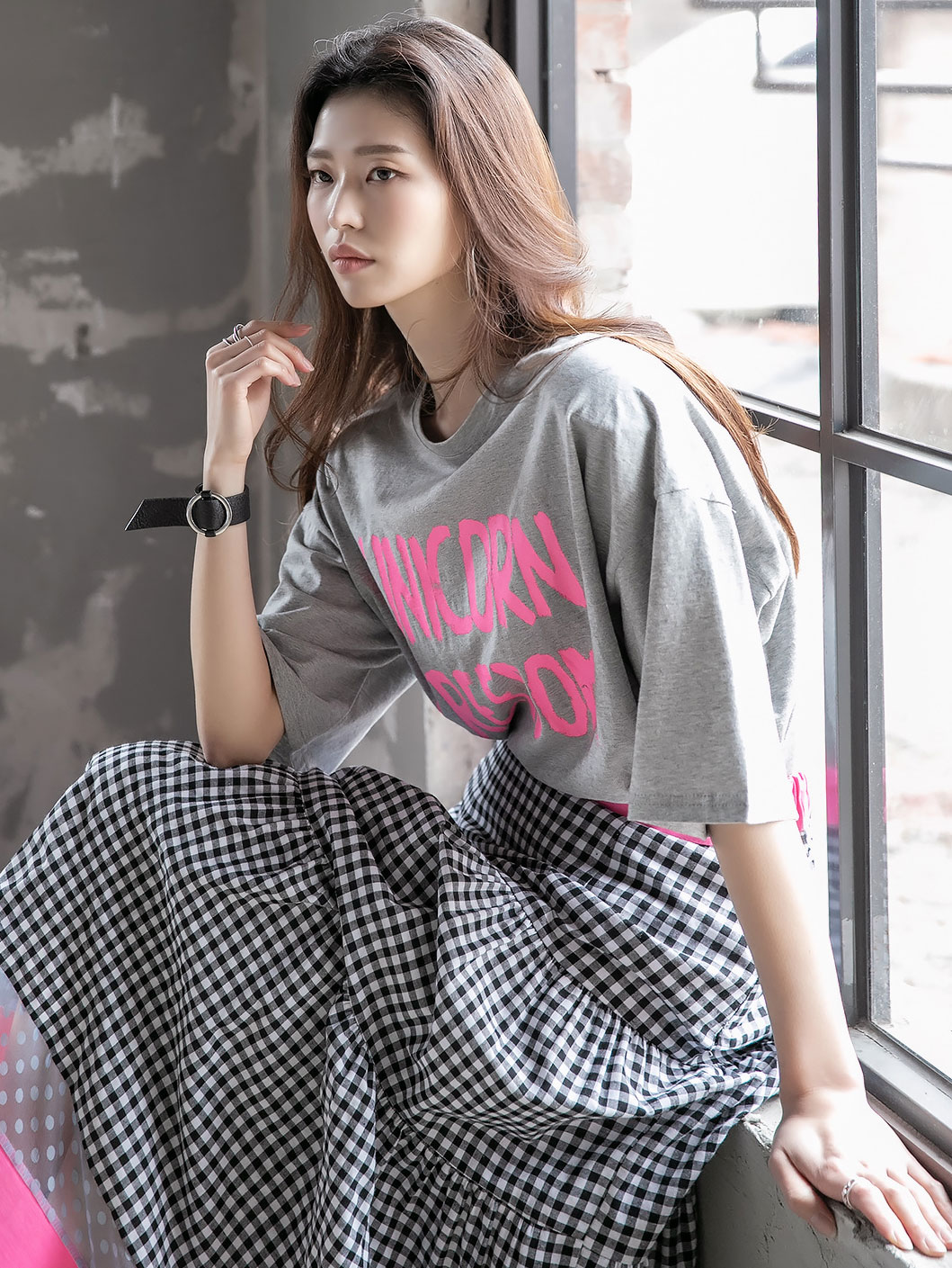 E2188 아테이 유니콘 Lettering Top(47th REORDER)