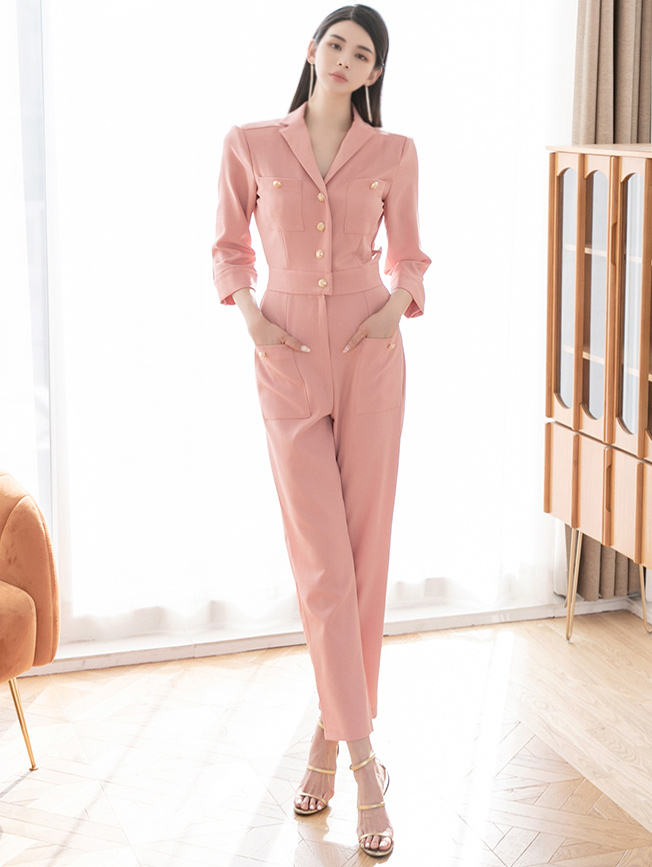 D4012 마인즈 Gold-Button jumpsuit*PINK Lsize Production*(30th REORDER)
