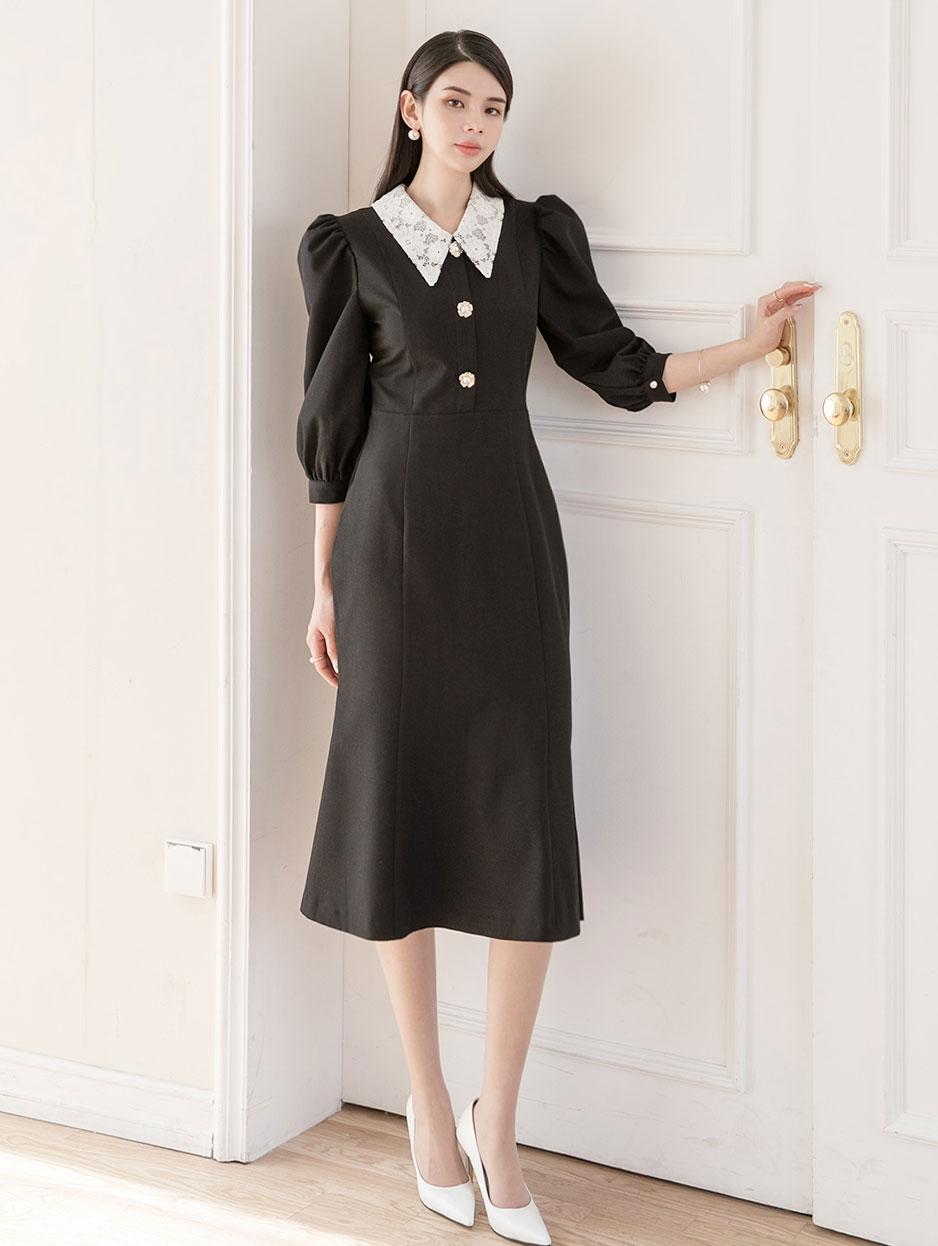 D4013 Lace Collar Dress