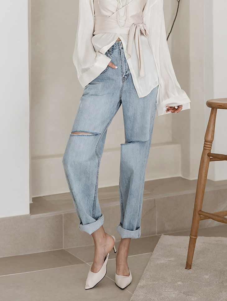 PJ402 메런 over fit Semi cutting Denim pants*L size production*(34th REORDER)
