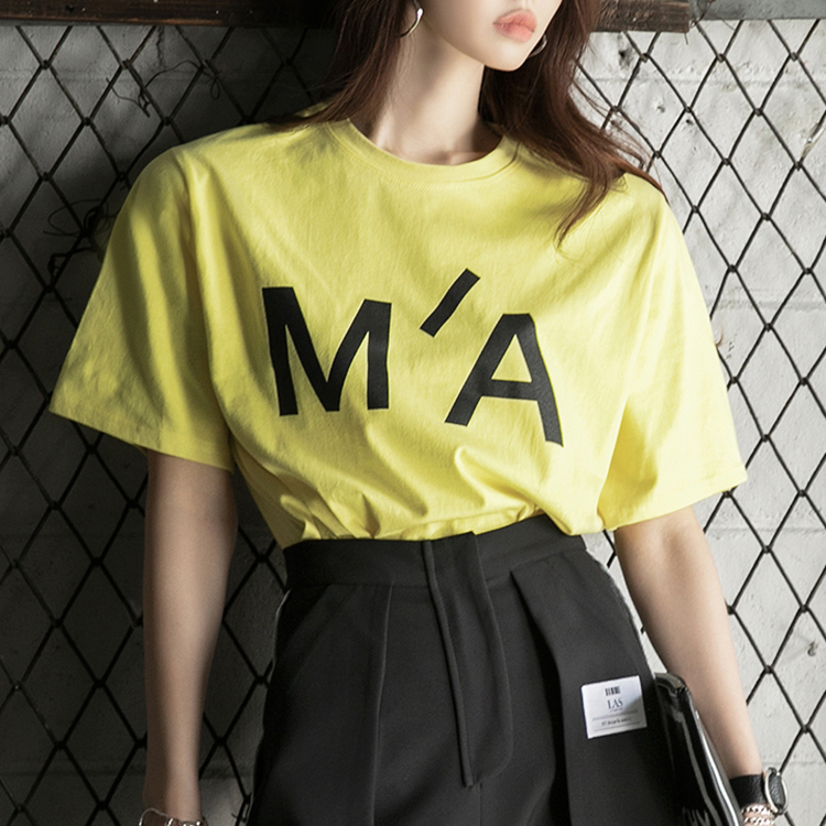 Korean E2216 시드 Lettering short sleeve Round neck Top(47th REORDER)