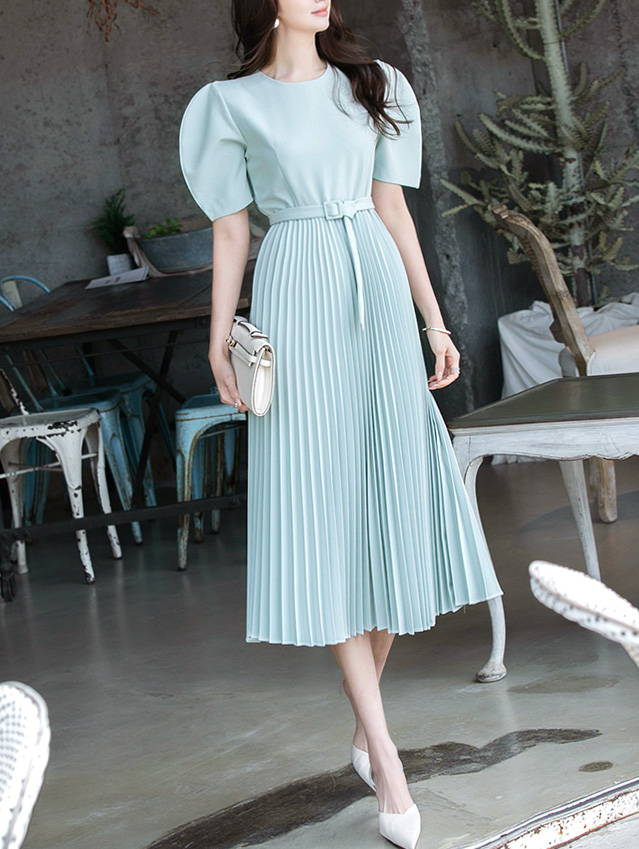 D4027 pleats Long Dress(Belt set)
