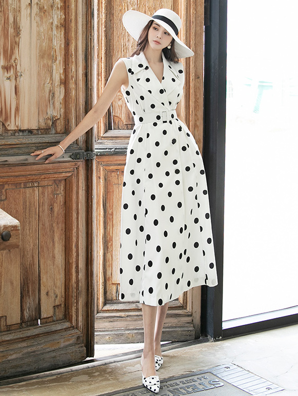 D4022 플린 dot Sleeveless Dress(Belt set)*BEIGE / IVORY Lsize Production*