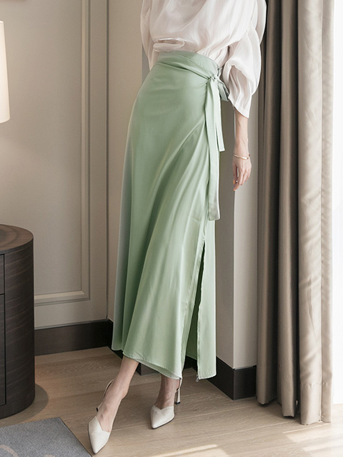 SK2064 Satin Vent warp Long skirt(6th REORDER)