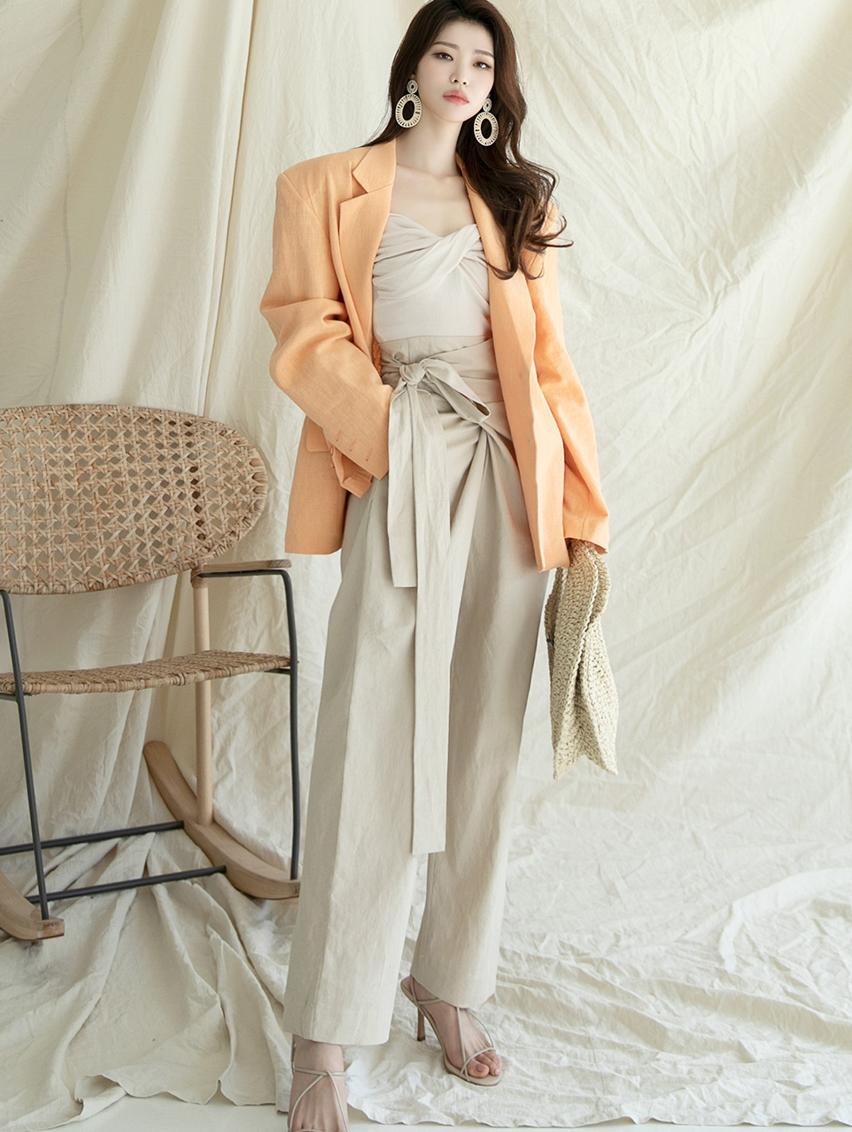 J984 Linen Jacket(Belt set)