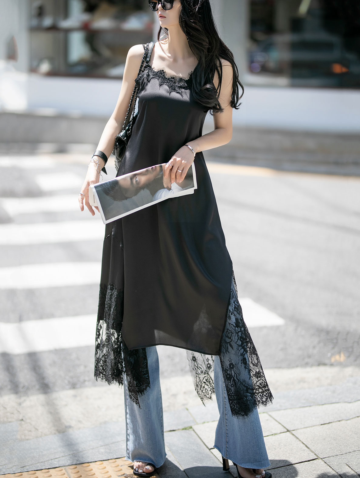 D4040 velour Satin Lace Sleeveless Dress (6th REORDER)