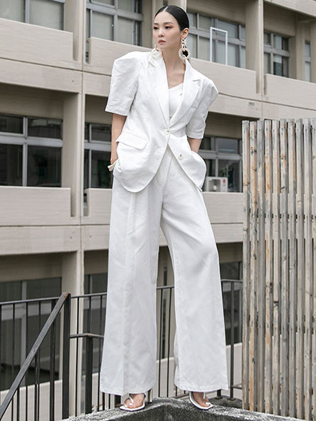 TP1093 Linen Two-button Puff Half two-piece *SET 5%*