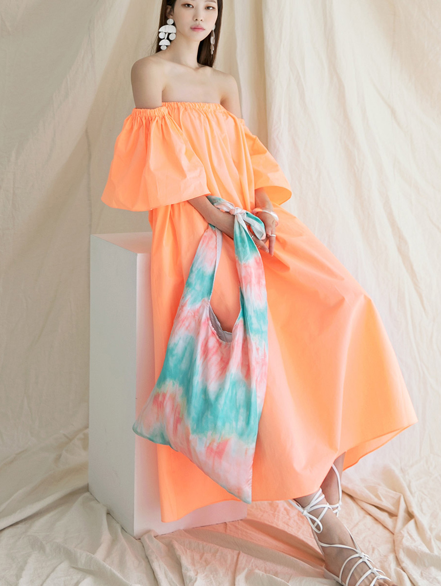 D9151 Neon off shoulder Dress